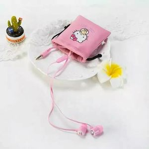 Image 3 - Cute Lovely Cartoon Pink Hello Kitty 3.5mm In Ear Stereo Earphones Hellokitty Earbud With Microphone For Phones With Storage Bag