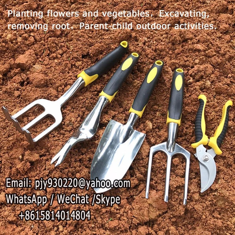 5pcs/Set Gardening Tool Set for Digging Planting Gardening Kit with Heavy Duty Cast aluminum Heads & Ergonomic Handles.