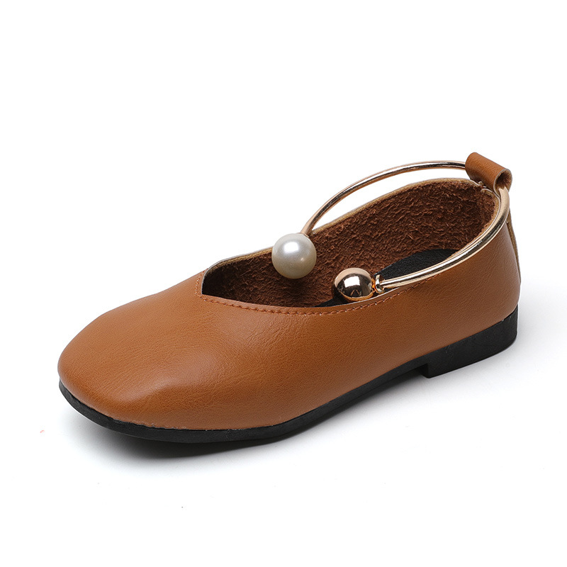 2017 Baby Girls Leather Shoes Autumn Wear Female Children Beads Shoes Casual Style Soft Bottom Outdoor