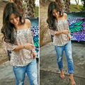 2016 New Women Off-shoulder Sexy Slim Loose Shirt Tops Glistening Sequin Tops
