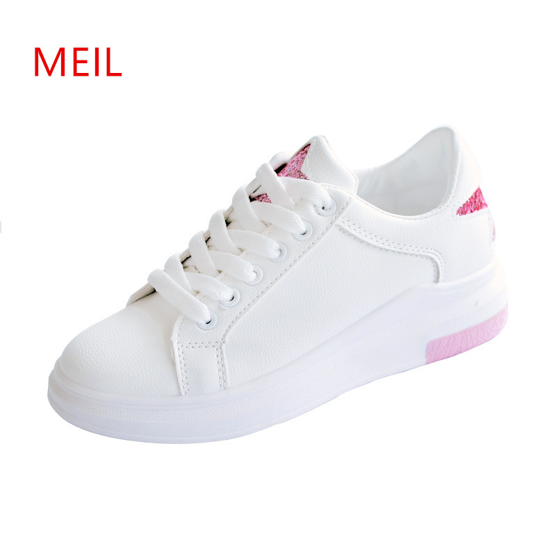2018 Spring Summer Ladies White Flat Shoes Female Casual Breathable PU Leather Sneakers Women Fashion Flats Girl Lace Up Shoes