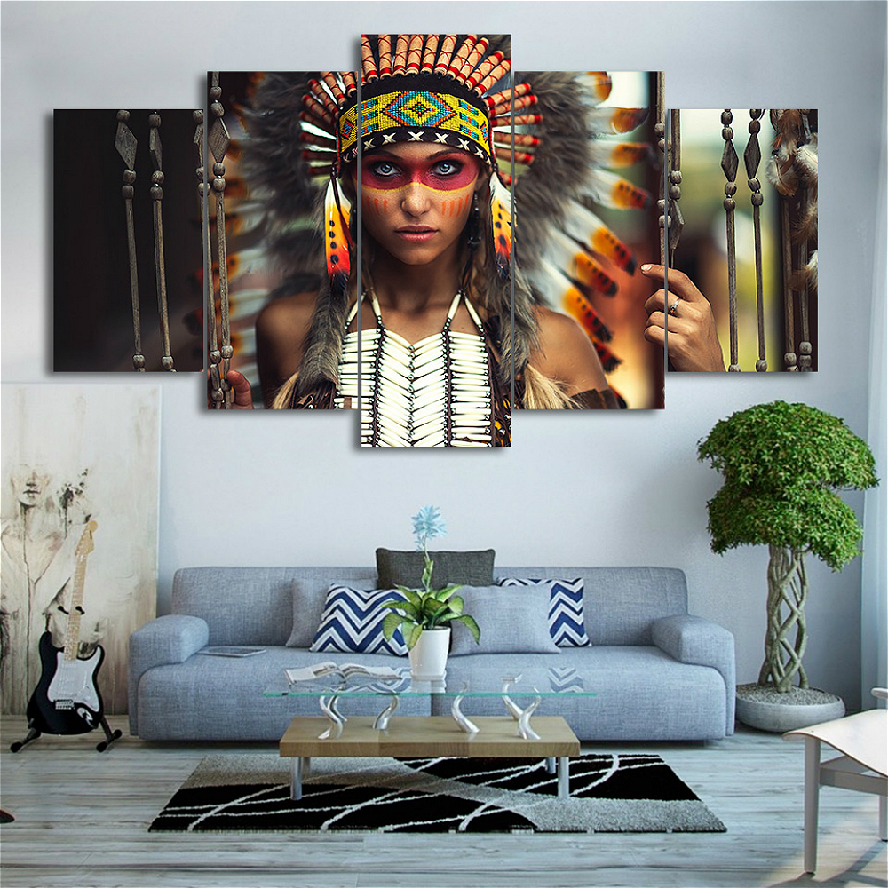 5 Panels Giclee Print Indian Feather Girl Wall Art Canvas Painting for Living Room Home Decor Portrait Artwork Canvas Drop Ship