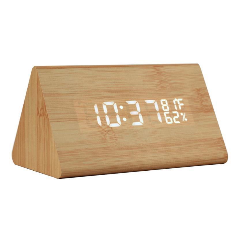Alarm Clock Classical Triangular Blue Digital LED Wood Wooden Desk Alarm Thermometer Clock 5.30