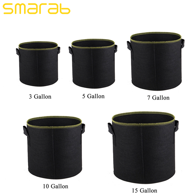 3 5 7 10 15 Gallon Black Planting Bag Grow Non