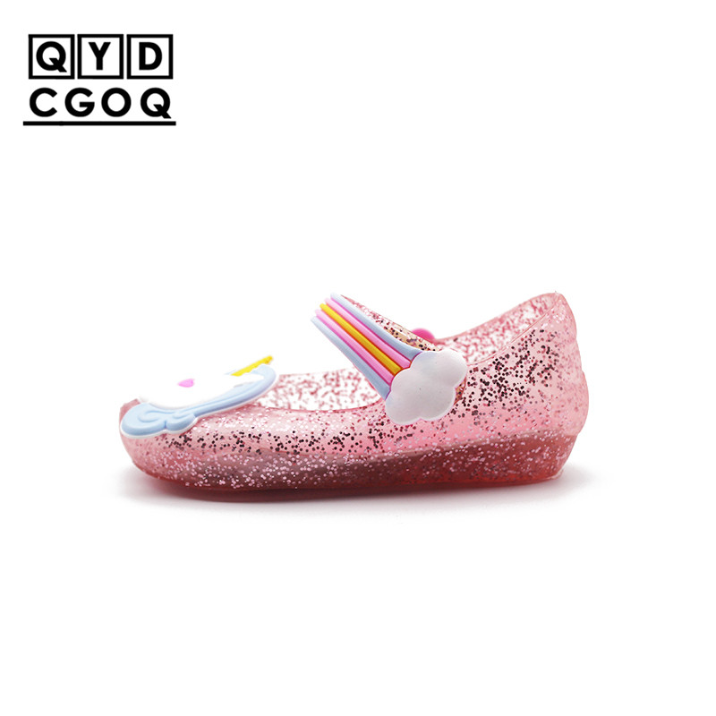 Mini Melissa Style Cute Unicorn Jelly Sandals 2018 New Girls Shoes Jelly Shoes Dargon Sandals Girl