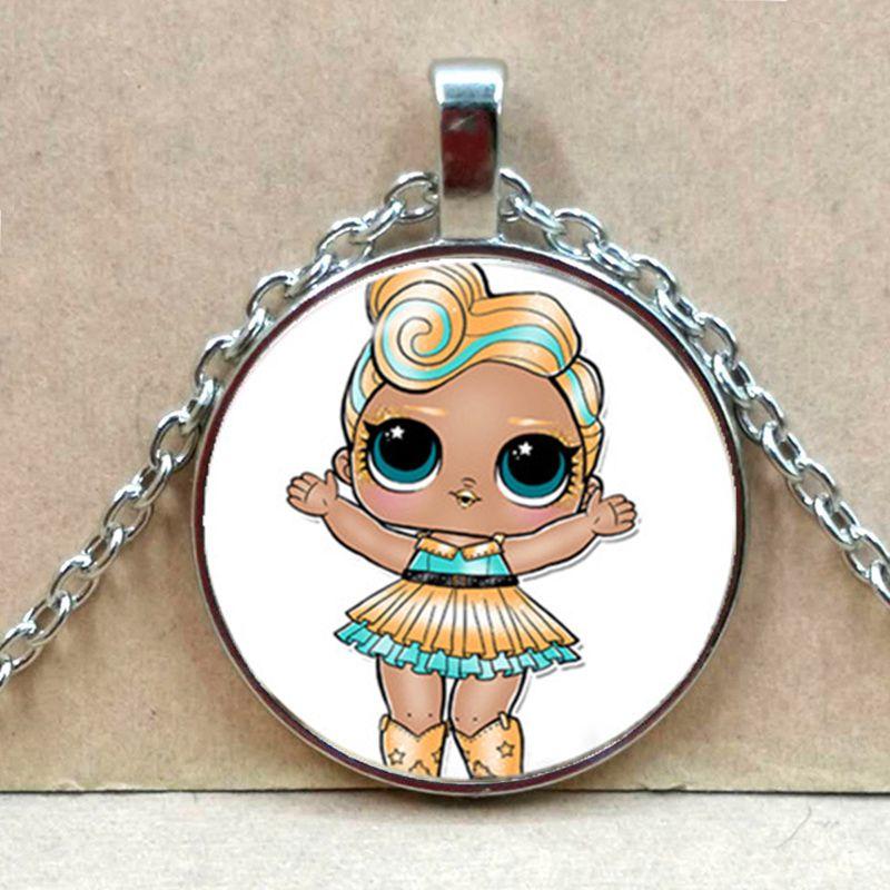 Мультяшное ожерелье с изображением куклы милое детское блестящее платье принцессы куклы стеклянные ожерелья аниме для детей подарок на день рождения - Окраска металла: Silver 2