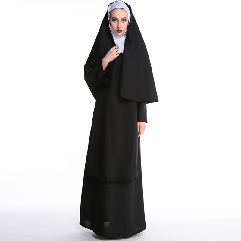 2017 Gros Vierge Marie Religieuses Costumes pour Femmes Sexy Long Noir Religieuses Costume Arabe Religion Moine Fantôme Uniforme Halloween
