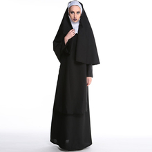 2017 Wholesale Virgin Mary Nuns Costumes for Women Sexy Long Black Costume Arabic Religion Monk Ghost Uniform Halloween