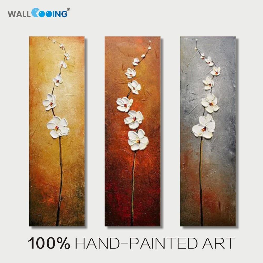 Pintura a Óleo 100% Hand painted 3 Painel Abstrato Verticais Flores Brancas Decoração da Lona Retrato da Arte da Parede Pinturas Casa Moderna