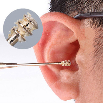 1PC Double-ended Stainless Steel Spiral Ear Pick Spoon Ear Wax Removal Cleaner Ear Tool Multi-function Portable 1