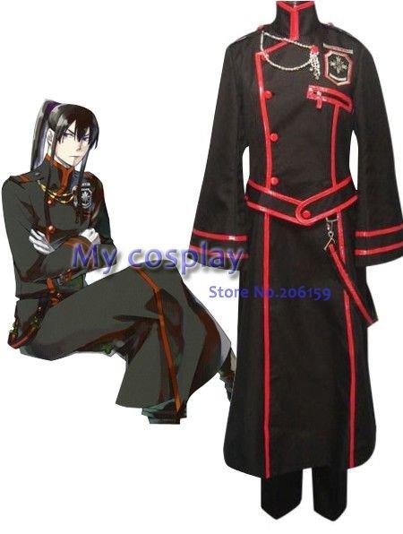 Anime Anime D.Gray Man Cosplay Kanda Yuu Men's cosplay costume for Halloween party Men Black Coat Long Winter Clothing
