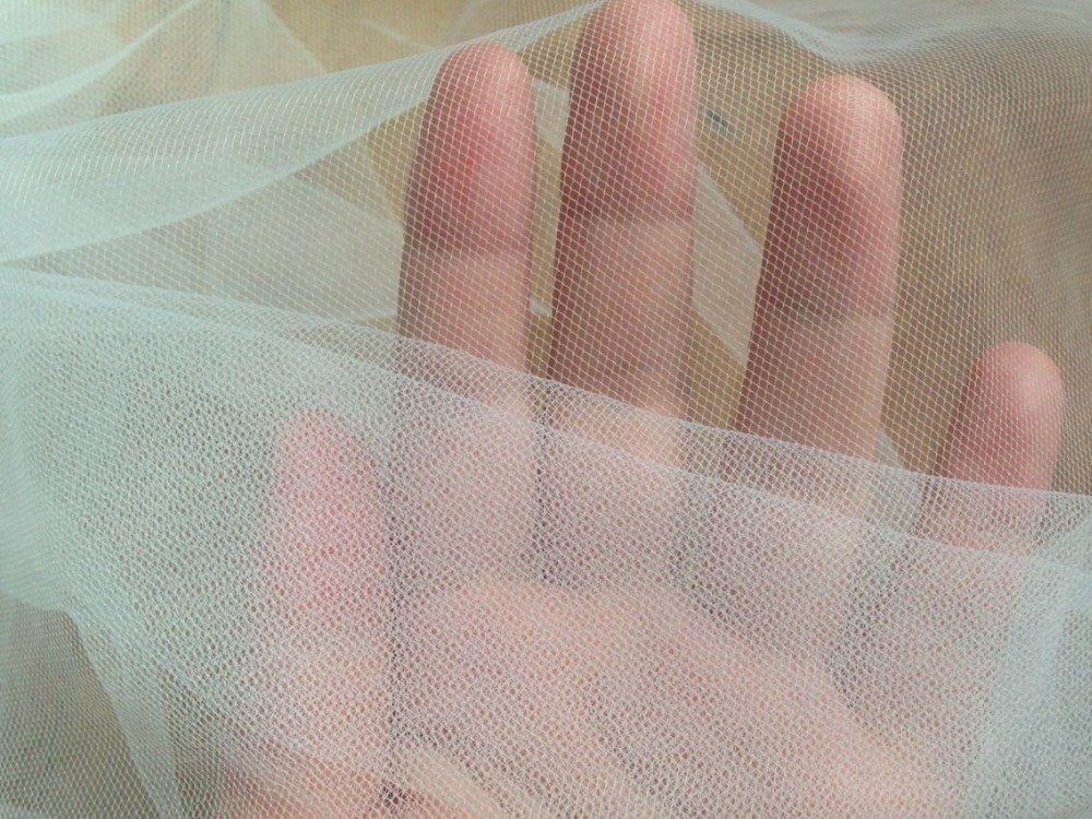 Pure white soft mesh net tulle fabric sheer transparent