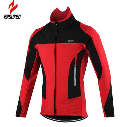 ARSUXEO 2017 Thermal Cycling Jerseys MTB Bike Jersey Winter Warm Up Windproof Waterproof Bicycle Cycling Clothing title=