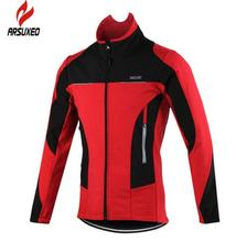 цена на ARSUXEO Men's Winter Thermal Windproof Long Sleeve Cycling Jacket MTB Bike Bicycle Clothing Sportswear Tops Coat