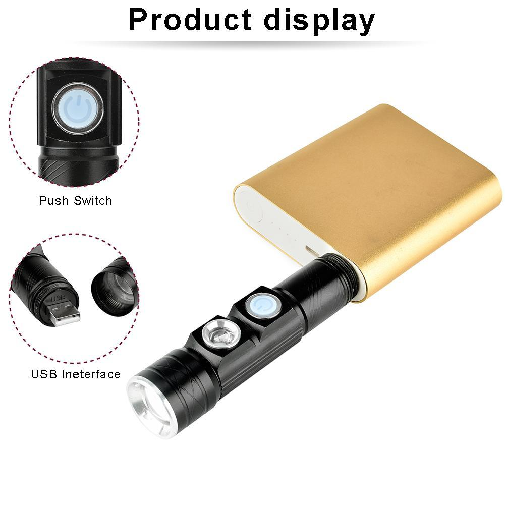 Modest Castnoo Rechargeable 6000 Lumens Xpe Led Flashlight 395nm Ultraviolet Fake Currency Detector Torch Uv Flashlight Lamp Zoomable Led Lighting Led Flashlights