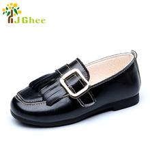 J Ghee Spring Autumn Fashion Kids Shoes For Boys Girls Children Casual Loafers Big Buckle With Tassels Elegant Shoes Size 26-30