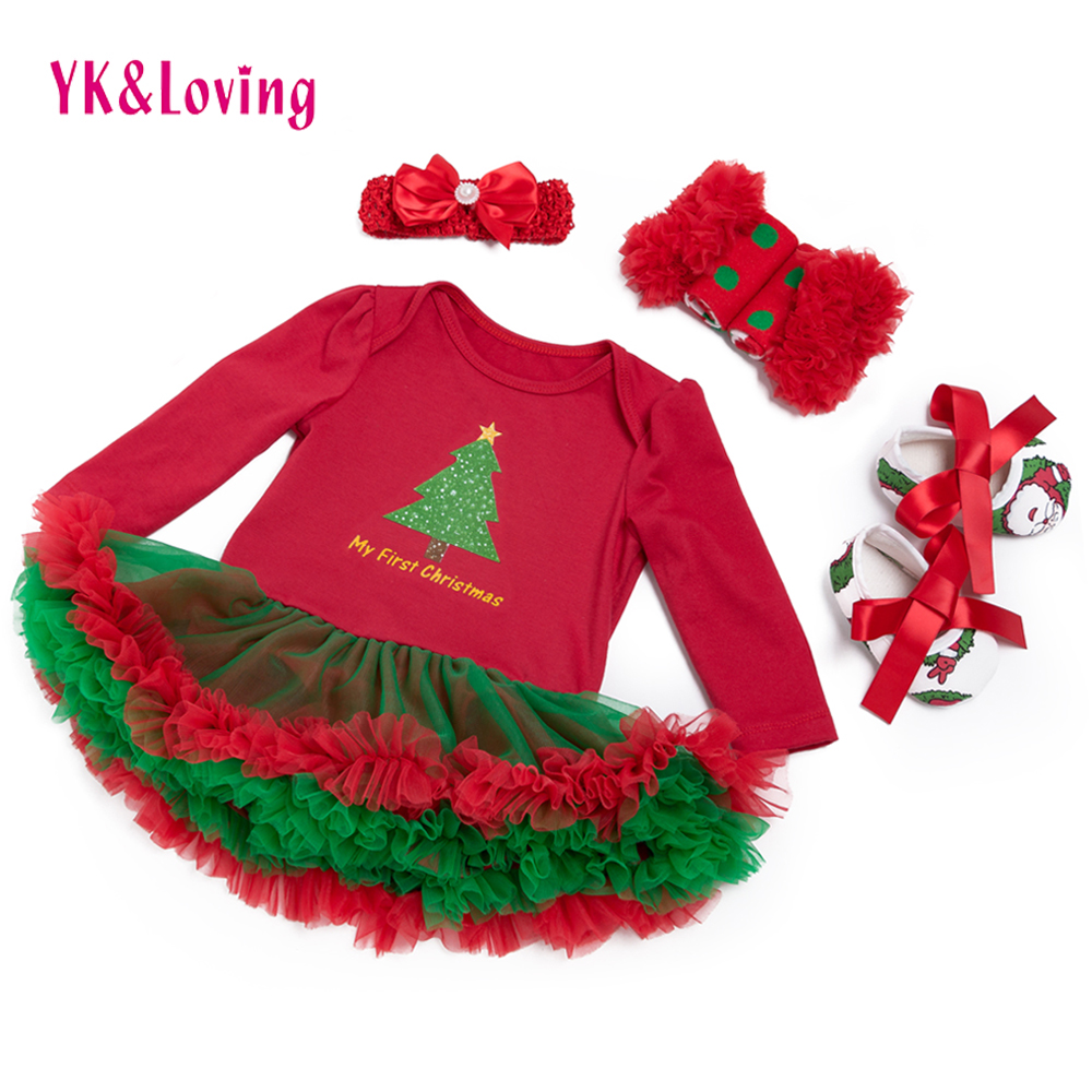 XMAS Festival Baby Dress Cotton Baby Romper Dress with Tree Print Girls Ruffle Dress Set Clothes