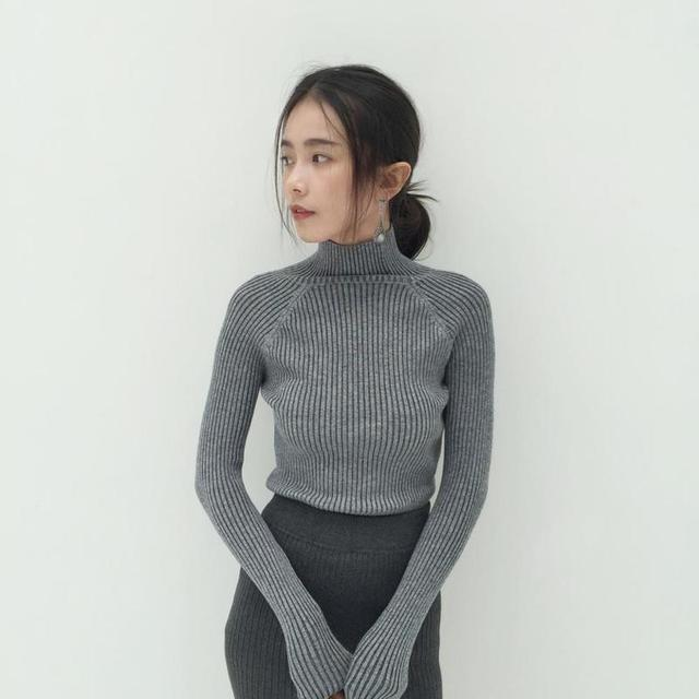 Vertical striped half turtleneck sweater short tight elastic waist ...