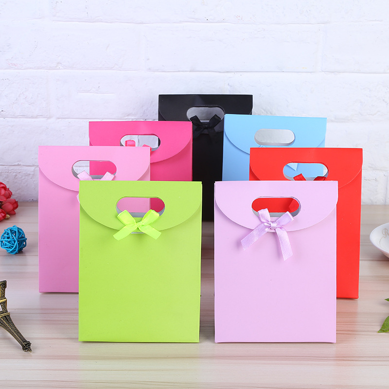 12pcs/lot Solid Color Portable Paper Gift Bag Wedding Party Favor Baby Shower Candy Boxes DIY Creative Candy Box Free Shipping