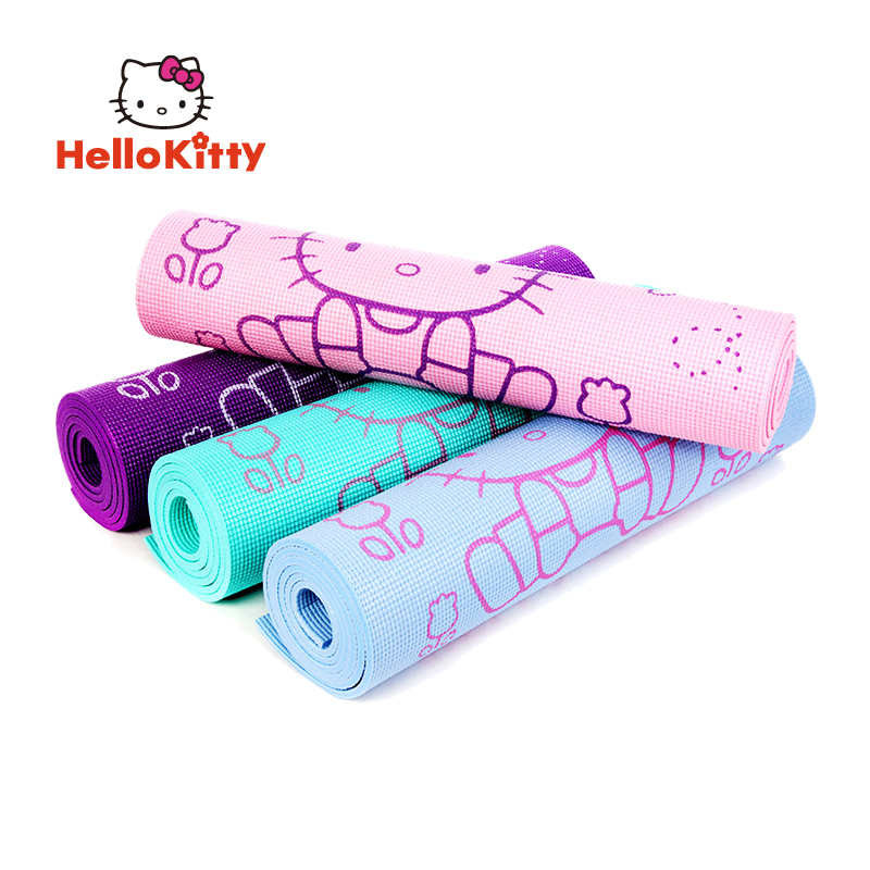 Hello Kitty Yoga Mat 8mm Thick Pilates Folding PVC Workout Exercise Fitness Pad Washable Non Slip Floor Play Purple 173 x 61cm gymnastics mat thick four folding panel fitness exercise 2 4mx1 2mx3cm