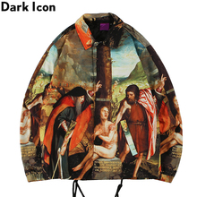 Dark Icon Full Printed Turn-down Collar Street Dance Jacket Men with String Hemline Cargo