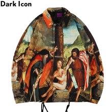 Veste de danse de rue à col rabattu imprimé pleine icône sombre hommes avec veste Cargo à ourlet de chaîne
