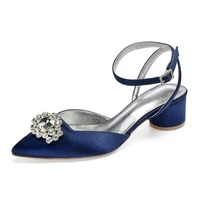 Creativesugar Pointed toe crystal brooch satin lady evening dress shoes sandals slingback ankle strap round kitten lower heel