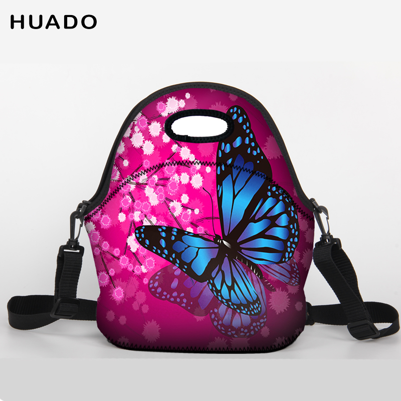 Lunch Bag Neoprene butterfly Lunch Tote bag With shoulder belt for Women Kids Baby Girls ...