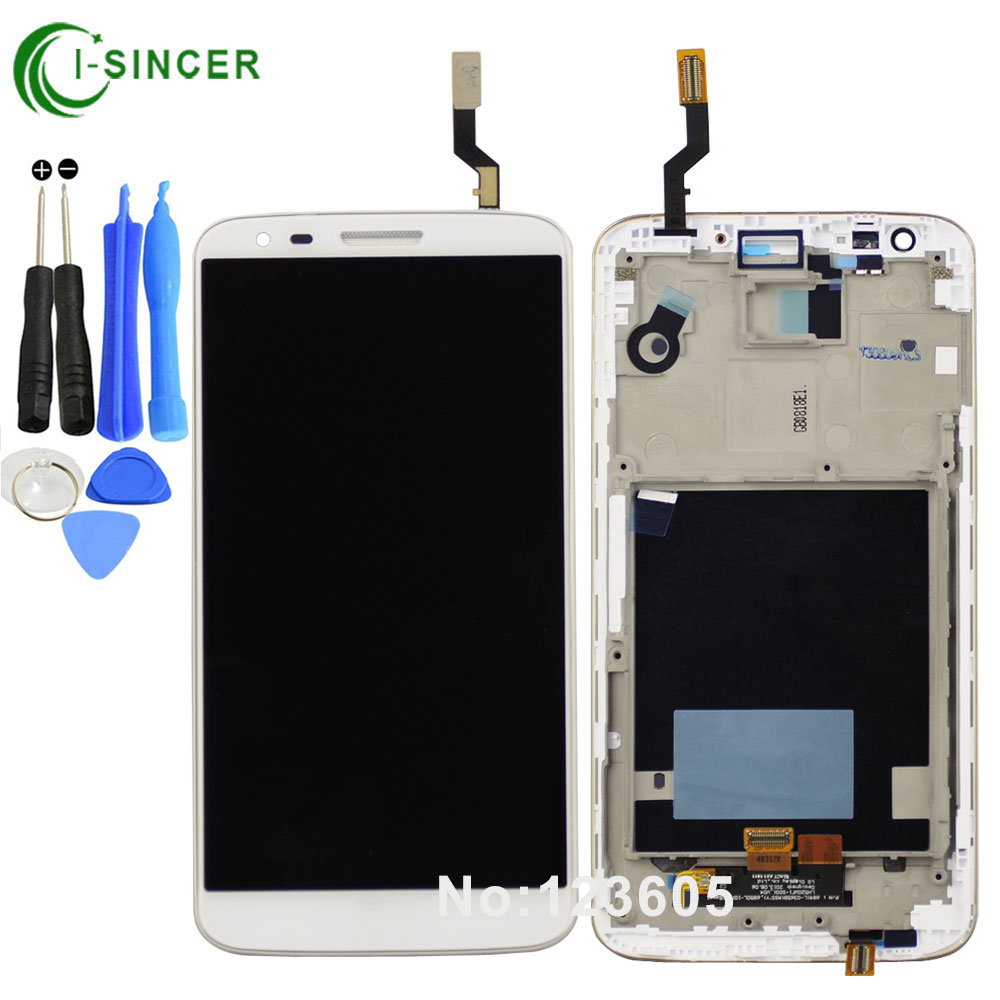 ФОТО Black White LCD Frame For LG Optimus G2 D803 LCD Display with Touch Screen Digitizer Assembly +tools Free Shipping