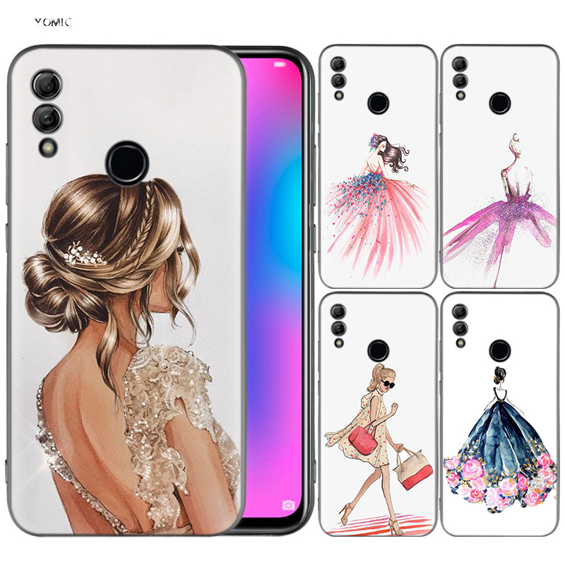 <font><b>Silicone</b></font> Cover <font><b>Case</b></font> for <font><b>Huawei</b></font> Honor 10 9 Lite 8X 8C 8A <font><b>Y6</b></font> Y7 Y9 7A Pro Prime 7C <font><b>2018</b></font> 2019 V20 Paris Girl <font><b>Summer</b></font> Legs Travel image