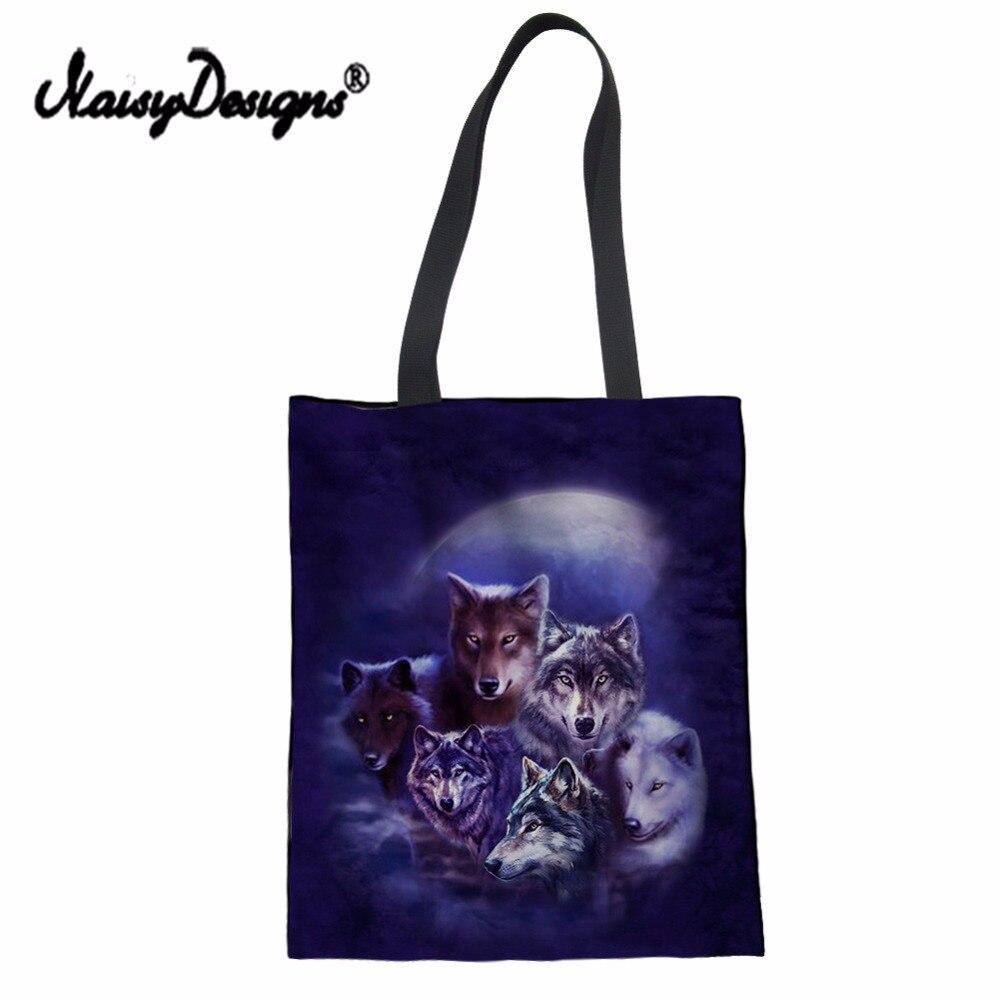 7047e188db29 NoisyDesigns 3D волк узор модные женские туфли Многоразовые Холст сумки  девушки Сумки сумка-шоппер Складная