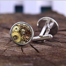 Fashion handmade Cufflink retro vintage machinery steampunk personality clock glass custom men T shirt Cufflinks jewelry