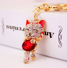 Lucky Cat Crystal Rhinestone keychain keyring for car key chain bag charm accessories chavei Creative Novelty gifts