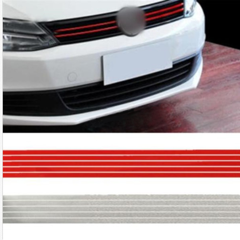 Red Car Front Hood Grill Decal Sticker Grille Trim Strip Reflective Stickers For VW Volkswagen Golf 6 7 Tiguan car rear trunk security shield cargo cover for volkswagen vw tiguan 2016 2017 2018 high qualit black beige auto accessories