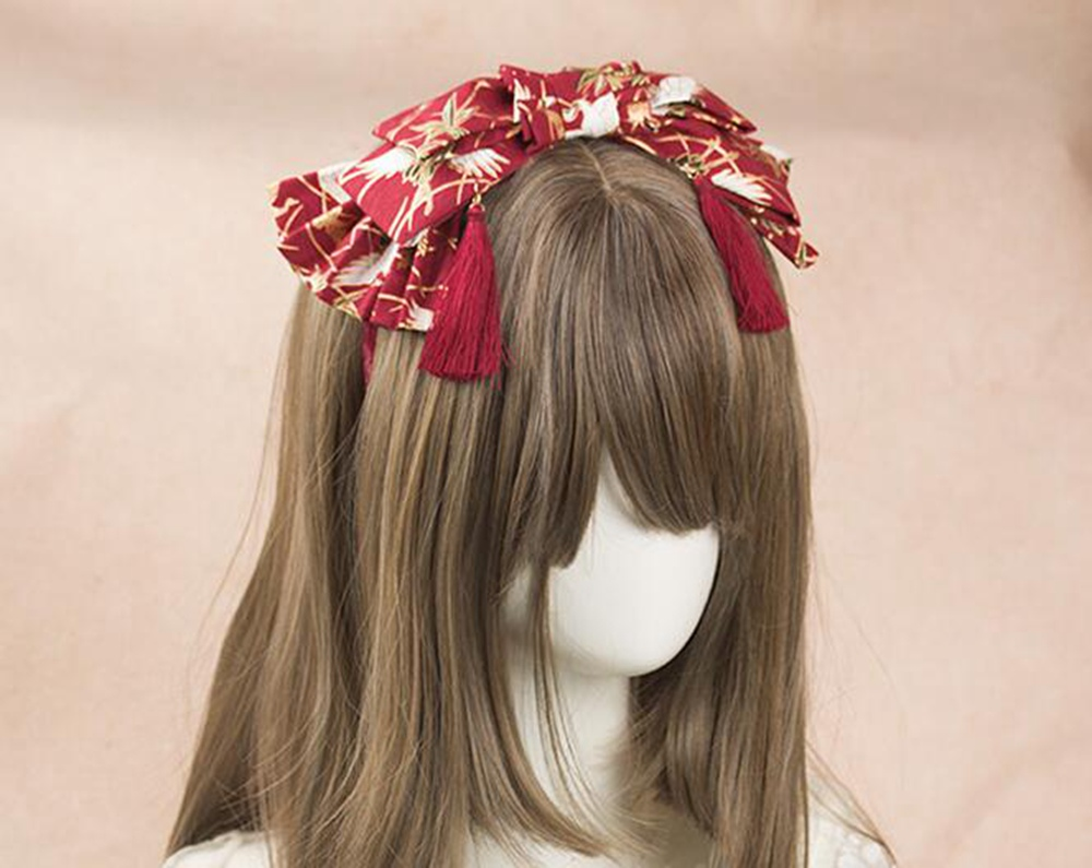 Christmas Headband Japanese Style Red Crane Pattern Tassel Hairband New Year Gift