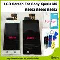 Blanco y negro de alta calidad pantalla lcd de pantalla táctil digitalizador lcd asamblea adhesivo para sony xperia m5 e5603 e5606 e5653