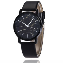 New Famous Brand Fashion Ladies Watches Leather Female Quartz Watch Women Thin Marble dial Leather Watch Reloj Mujer Black
