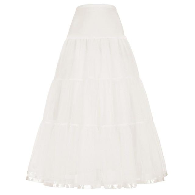 Fashion Black White Tulle Skirts Womens Pleated Long Skirt Saia Longa Wedding Dress Petticoat Faldas Midi Tutu Skirt Maxi Skirts