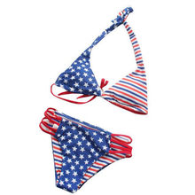 7c18f30c13 Costume de natation pour femmes grande taille mode dames deux pièces  drapeau américain imprimer Sexy Bikini maillot de bain indé.