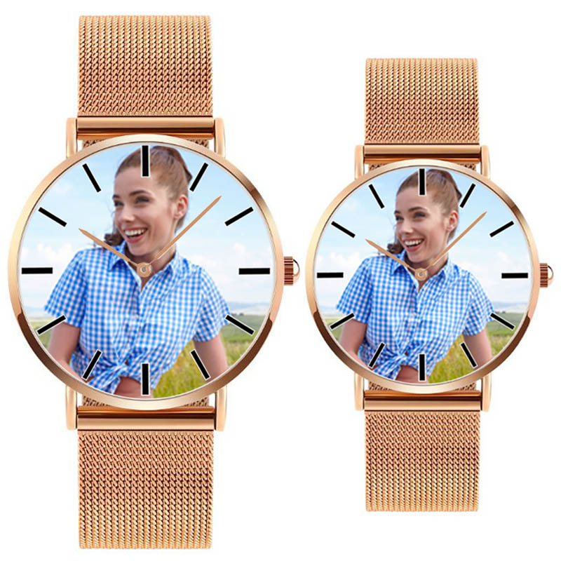 A4402 Gold Silver Black DIY Photo Mens Womens Lovers Stainless Steel Strap Dropshipping Custom Picture Gift Personalized Watch