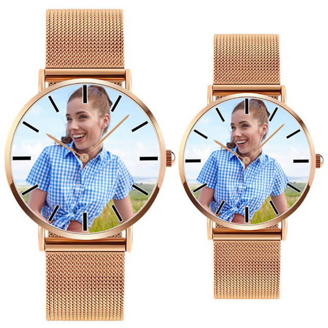A4402 Gold Silver Black DIY photo mens womens lovers stainless steel strap drops