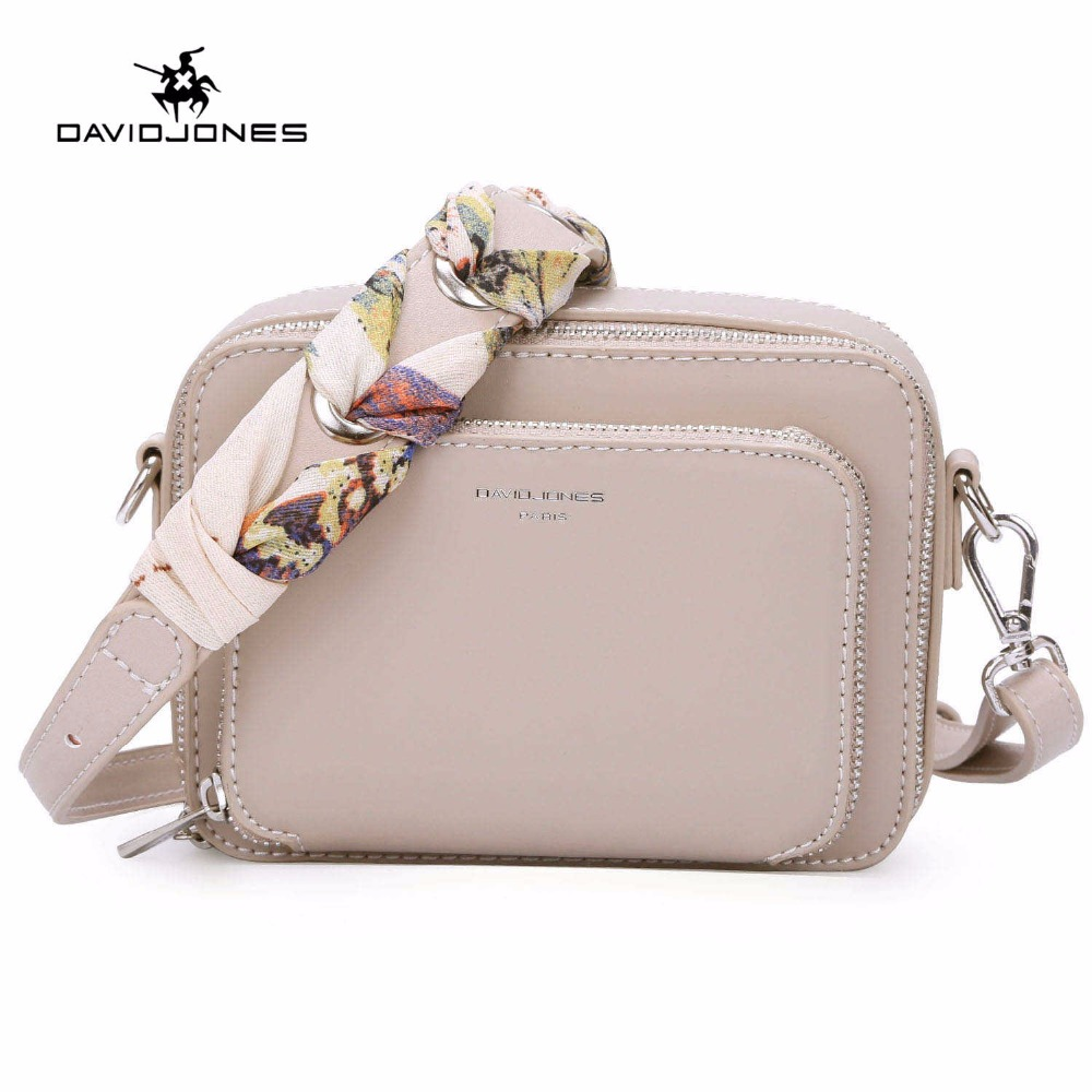 DAVIDJONES Women Small Shoulder Bag Women Ribbons Crossbody Bags For Girl 2018 New PU Leather Messenger Bag Feminina Bolsa Purse