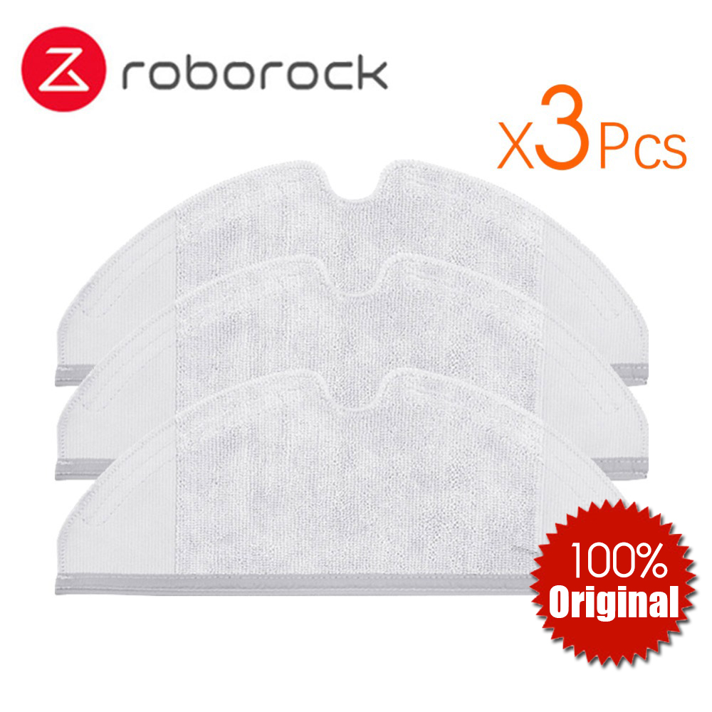 3Pcs Original Roborock Parts S50 S51 Mop Cloths for Xiaomi Vacuum Cleaner Generation 2 Dry Wet Mopping Cleaning 2pcs original roborock s50 s51 parts mop cloths for xiaomi vacuum cleaner generation 2 dry wet mopping cleaning