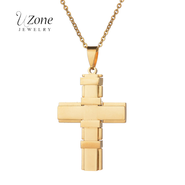 Patriarchal Belief Punk Necklace Jesus Cross Pendant Stainless Steel