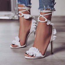 Пикантные женские туфли-лодочки; женские свадебные туфли на высоком каблуке; белые туфли с цветочным принтом; женские босоножки на шнуровке с открытым носком; классические туфли-лодочки; большие размеры 43