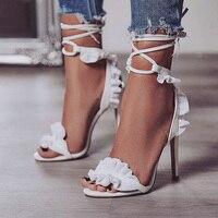Пикантные женские туфли-лодочки Свадебная обувь женские белые туфли на высоком каблуке с цветочным рисунком женские босоножки на шнуровке ...