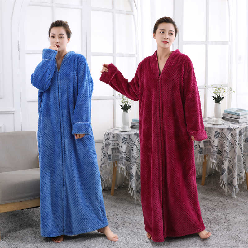 57cf030002 Women Plus Size Ultra Long Thickening Warm Bathrobe Lovers Winter Flannel  Thermal Bath Robe Pregnant Robes