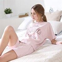 QIANXIU 2019 new summer women Round neck pajama sets cotton Short sleeve printing pyjama femme homewear sleep&lounge onesie