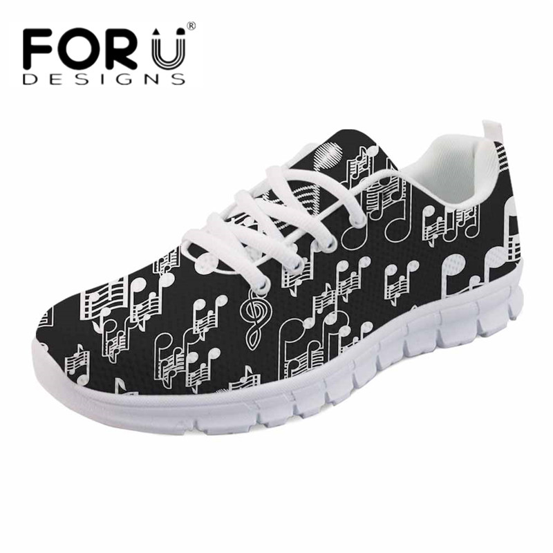 FORUDESIGNS Fashion Casual Flats Women's Cartoon Music Printed Comfortable Mesh Sneakers Ladies Lace Up Shoes Breathable Zapatos forudesigns 3d flowers pattern women casual sneakers comfortable mesh flats shoes for female girls lace up shoes zapatos mujer