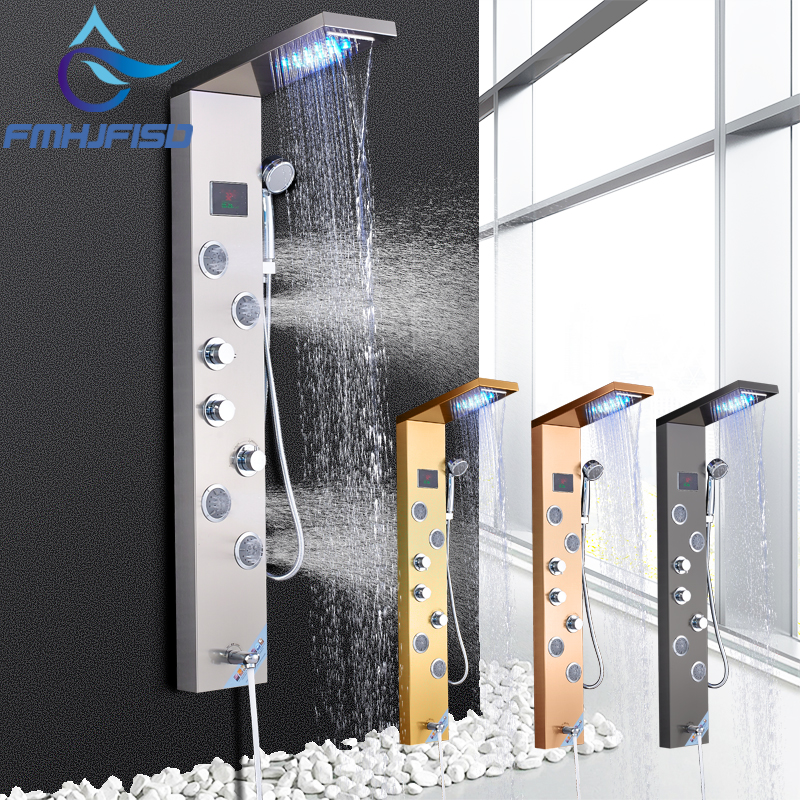 LCD Temperature Display Bath Shower Panel Stainless Steel LED Tower Shower Column with SPA body nozzle Nozzle Massage Jets rovate multi function bathroom shower panel tower system with water temperature display 304 stainless steel black and chrome